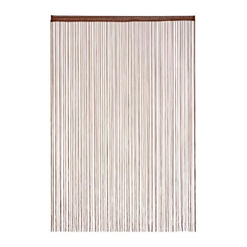 Relaxdays Fadenvorhang, 145x245 cm, mit Tunneldurchzug, kürzbar, für Türen & Fenster, Fadengardine, waschbar, braun