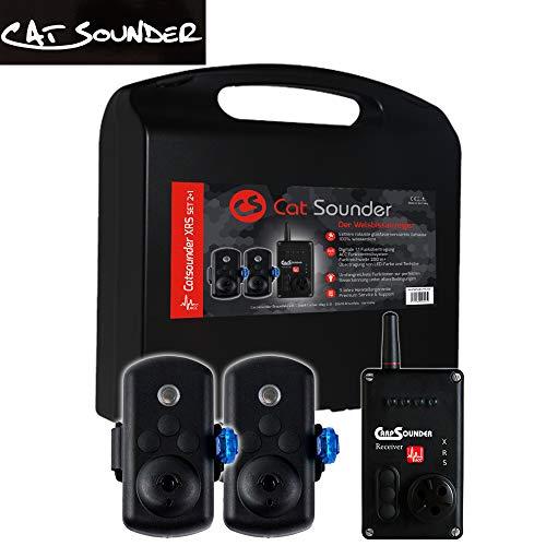 Catsounder XRS 2er Set - 2 Welsbissanzeiger + Receiver, Bissanzeigerset zum Wallerangeln, Funkbissanzeiger zum Welsangeln, Bissanzeiger für Wels