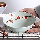 HUAHUA Bowls Retro cerámica hecho a mano Ramen tazón vajilla de cocina de gran capacidad Ronda de ensalada de fruta/Pasta/Cereal B/C/cuencos de sopa, de 20 cm de diámetro