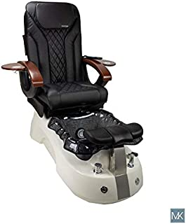 SIENA Shiatsulogic Pedicure Chair White/Black Stylish Pedicure Tub w/Discharge Pump & Pipe-less Whirlpool system Perfect for all Pedicure Spa, Black Cover Set