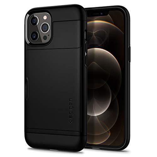 【Spigen】 iPhone 12 ケース/iPhone 12 Pro ケース 6.1インチ 対応 耐衝撃 MIL規格 落下防止 Qi充電 IC カード 収納 ポケット パスケース アイフォン12 ケース アイフォン12プロケース カバー シュピゲン スリム・アーマー CS (ブラック)