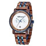 Holzuhr für Herren, shifenmei S5593 45mm Herren Holzuhr 12/24 Herren Armbanduhr Weltzeit Analoge Quarz Armbanduhr mit Holz-Geschenkbox (Braun)
