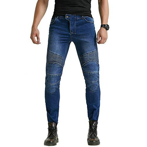 LOVEHOUGE Pantalones Vaqueros para Montar En Moto Pantalones De Ciclismo para Moto Pantalones Protectores De Armadura con Rodilleras Y Caderas,Azul,L=32