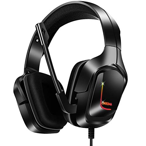 Gaming Headset, Gaming Headphones with 7.1 Surround Sound Noise Isolation PC Headset with Mic & RGB LED Light, Soft Memory Earmuffs Compatible with PC/MAC Games