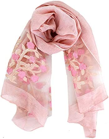 Van Caro Classy Silk Scarf Lightweight Sunscreen Shawl Beach Towel Scarves Wraps for Women Pink product image