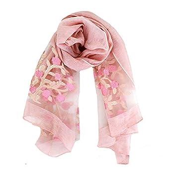 Van Caro Classy Silk Scarf - Lightweight Sunscreen Shawl Beach Towel/Scarves/Wraps for Women Pink