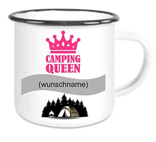 Crealuxe Emailletasse m. Wunschname (Wunschname) Camping Queen - Kaffeetasse mit Motiv, Bedruckte Tasse mit Sprüchen oder Bildern