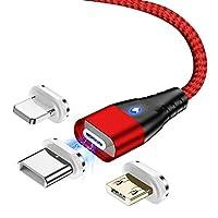 HOHE MAGNETKRAFT - Das 3in1 Magnet Ladekabel hat eine starke Magnetkraft und einen niedrigen Widerstandswert, der schneller ist als die meisten USB-Kabel. Machen Sie schluss mit langen Ladezeiten! EINFACHE BEDIENUNG - Bequeme Einhandbedienung beim Au...