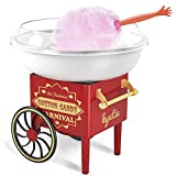 Cotton Candy Machine for Kids - Carnival Cotton Candy Maker Machine with Long Handle Sugar Scoop and 10 Cute Reusable Cotton Candy Cones - Food Grade Material, Easy to Clean - Red/White