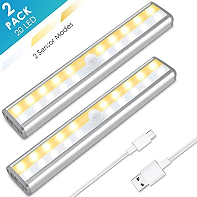 Under Cabinet Lighting, MOICO 20 LED Wireless Motion Sensor Closet Lights Rechargeable 3 Color Modes Magnetic Stick On Lights Bar for Counter, Wardrobe, Kitchen, Hallway, Stairs, 2 Pack