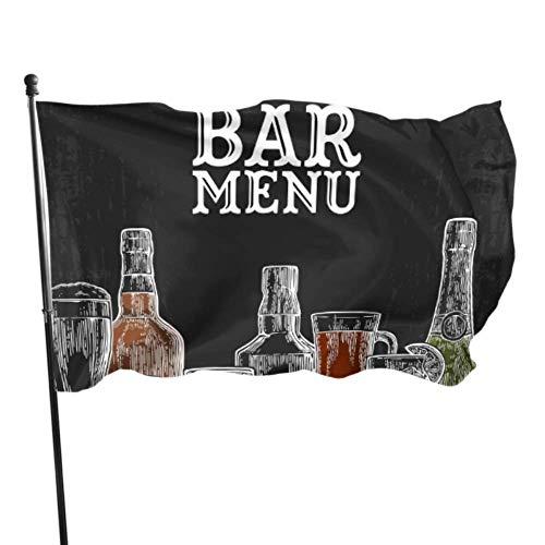 Plantilla Bar Menú Bebidas alcohólicas Banderas de Botellas Decoración de la Pared Banderas para decoración 3x5 pies Colores Vibrantes Calidad Poliéster y latón Ojales