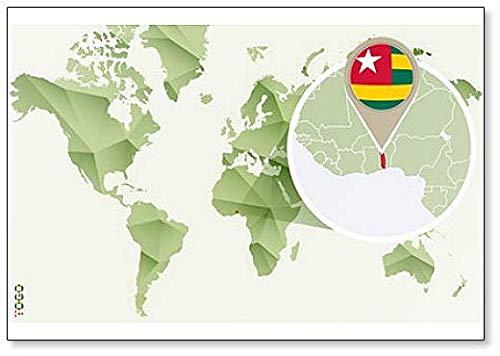 Kühlschrankmagnet Weltkarte mit Togo & Flagge