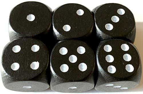 Spieltz Augen-Würfel aus Holz, extra groß (20 mm), z.B. für XL Spiele, für kleine Kinder, für Senioren. (6 Würfel, Schwarz mit weißen Augen)