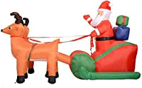 クリスマスインフレータブルオーナメント古いバックパックインフレータブルサンタクロース鹿キャリッジショッピングモールホテルパティオヤー