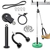 SYL Fitness Sistema de polea de cable – Máquina de extracción para gimnasios en casa – Equipo para ejercicios de hombro, tríceps, bíceps, brazo – Placas de carga con capacidad de 800 libras