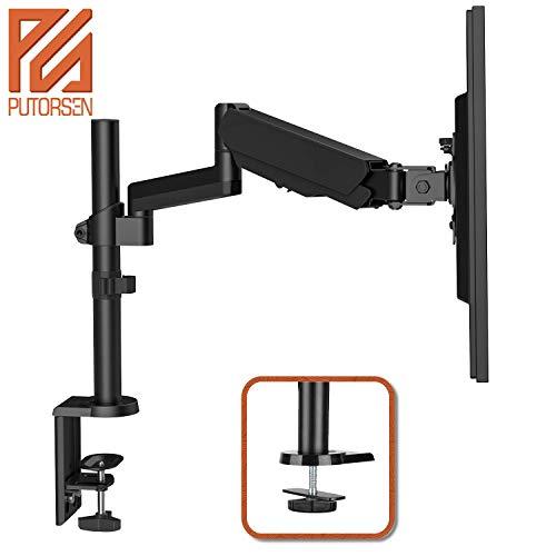 PUTORSEN® Monitor Tischhalterung - Ergonomische Gasdruckfeder Schwenkbare Neigbare Höhenverstellbar Einarm Monitorhalterung für 17