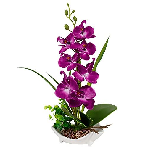 Künstliche Orchidee Blume Zimmerpflanzen Orchideen Blumen mit Porzellanvase Töpfen lila Orchideen unechte Pflanzen gefälschte Seide Blume Bonsai Dekoration Esstisch Mittelstück Badezimmer Ornament
