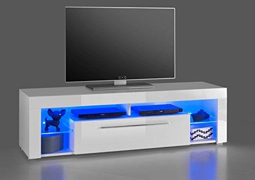 AVANTI TRENDSTORE - Gabriel - Mobile TV con Illuminazione LED Compresa, in Laminato Bianco con Anteriore in Bianco Lucido, Disponibile in Diverse Misure (153x44x44 cm)