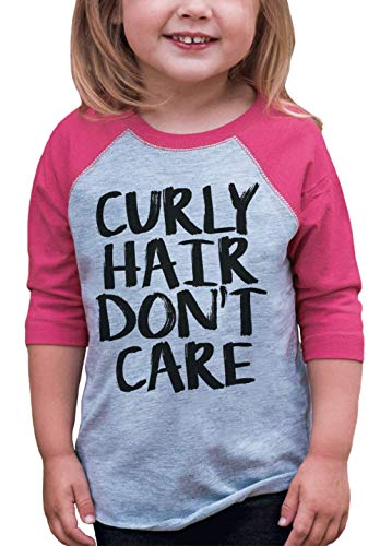 7 ate 9 Apparel Funny Kids Curly Hair Don't Care Baseball Tee Pink 5T