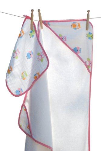 Angel Dear Serviette à capuche et gant de toilette en mousseline
