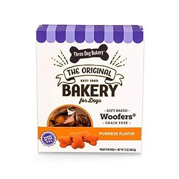 Three Dog Bakery Grain Free Wafers Baked Dog Treats Pumpkin 13 oz