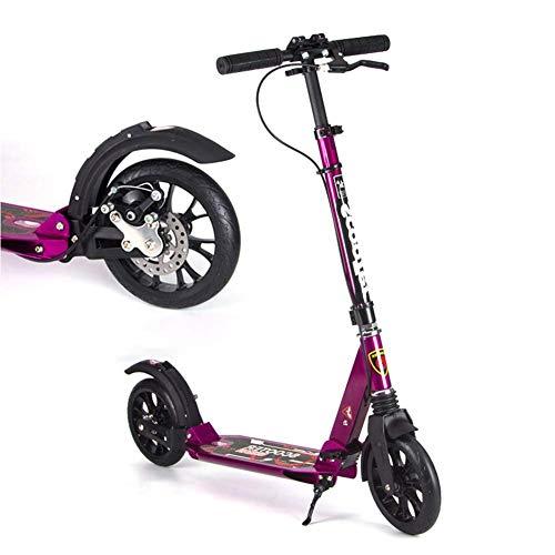 Moolo Kick Scooter para niños, 2 Ruedas Plegables Manijas Ajustables Diseño de Marco de Aluminio Fuerte Freno de Mano Dirección Libre para niños de hasta 5 años al Aire Libre (Color : Púrpura)