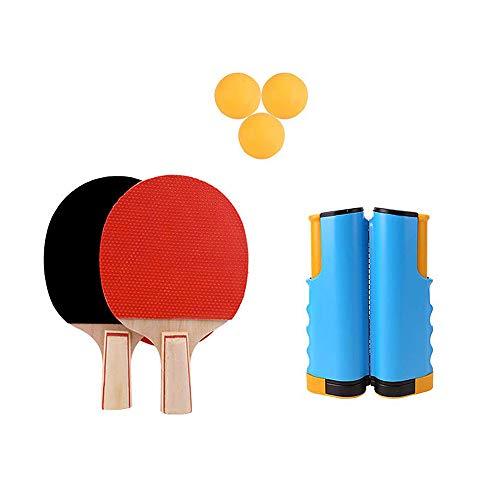 Bocotoer - Juego de tenis de mesa retráctil, 2 bates y 3 pelotas, 1 red, 1 bolsa