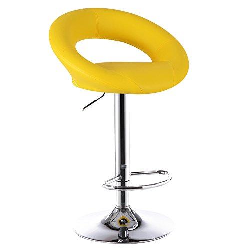 Chaises de bar, chaises de bar européennes, tabouret de bar simple de mode, tabouret haut, chaise élévatrice de réception, chaise de bar rotative (Couleur : Le jaune)