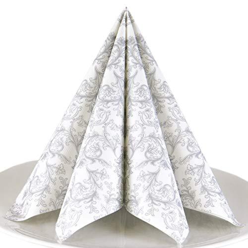Servietten Ornament silber Premium Airlaid, STOFFÄHNLICH | 50 Stück | 40 x 40cm | Hochzeitsserviette | hochwertige edle Serviette für Hochzeit, Geburtstag, Party, Taufe, Kommunion | made in Germany