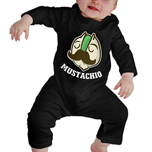 Zotala Mustachio Pistachios Baby Girls Boys Clothes Cute Outfit Jumpsuit Long Sleeve Romper Black