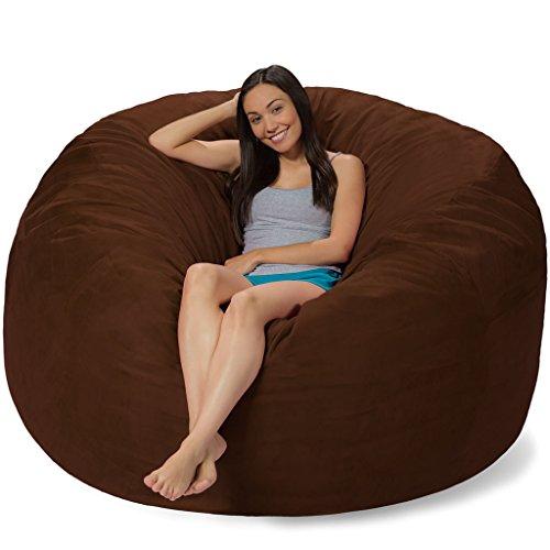 Comfy Sacks 6 ft Memory Foam Bean Bag Chair, Mocha Cords
