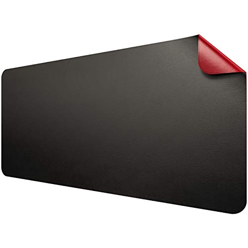 JIALONG Leather Desk Pad Protector Mouse Pad Non-Slip Desk Pads Blotters Waterproof Dual-Sided Multifunctional Office Desk Mat 354 x 1693 BlackRed