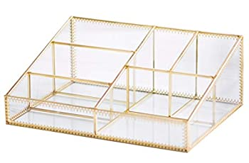 Makeup Organizer Antique Countertop Cosmetic Storage Box Glass Beauty Display Gold Spin Large Capacity Holder for Brushes Lipsticks Skincare Toner