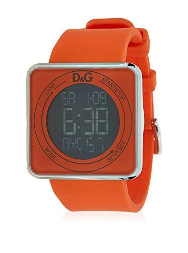 D & G DW0738–Orologio da uomo con cinturino in gomma, colore: arancione/grigio