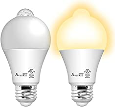 Motion Sensor Light Bulb- 2 Pack, AmeriTop 10W(60W Equivalent) 806lm Motion Activated Dusk to Dawn Security LED Bulb; UL Listed, A19, E26, 2700K Soft White, Auto On/Off Indoor Outdoor Lighting