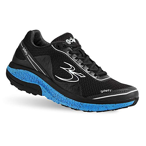 Gravity Defyer Men's G-Defy Mighty Walk Black Blue Athletic Men's Walking Shoes 12 W US - Recovery Pain Relief Shoes for Heel Spurs, Foot Pain Shoes for Plantar Fasciitis