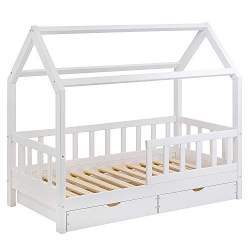 Hausbett für Kinder 80x160 cm - Schönes Kinderbett aus Holz mit Schubladen und Rausfallschutz | Jugendbett im skandinavischen Haus Stil | 80 x 160 Kiefer Bett inkl. Lattenrost | Massivholz Weiß Hell