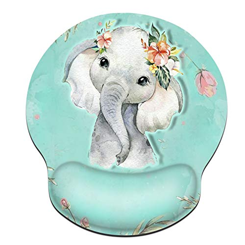 iNeworld Mouse Pad with Wrist Support Mouse Pad for Laptop with Wrist Support Ergonomic Cute Mouse Pad with Wrist Rest for Gaming/Working/Office/Home (Elephant)
