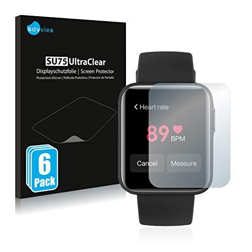 savvies 6-Pezzi Pellicola Protettiva Compatibile con Xiaomi Mi Watch Lite Protezione Schermo Trasparente