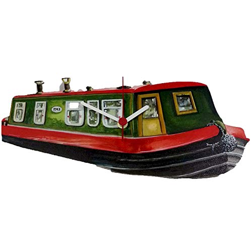 Wooden Canal Boat Clock - Window Boxed