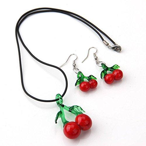 Glas Kirsche Ohrhänger Halskette Collier Schmuck Modeschmuck