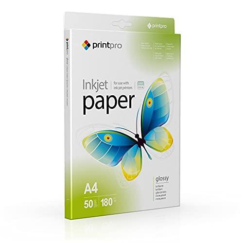 Fotopapier PrintPro von COLORWAY hoch glänzend 50 Blatt DIN A4 Sofort Trocken Wasserfest für alle Tintenstrahldrucker (180g A4 50 Blatt)