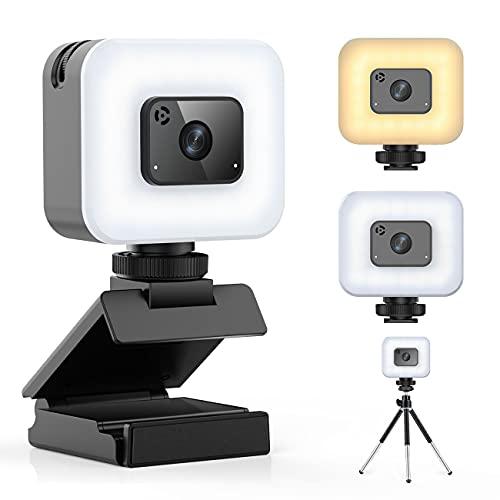 FDKOBE Webcam Full HD 1080P con luz móvil para videoconferencias con micrófono para PC, enfoque automático, cámara web para videollamadas, cámara web para grabaciones, llamadas, conferencias, juegos