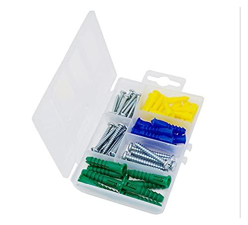 JIAN Ancore a Costine in Nylon in plastica e Viti autofilettanti Viti Assortimento Viti Kit Metallo Vite Phillips Testa Piana 66 PCS Exquisite