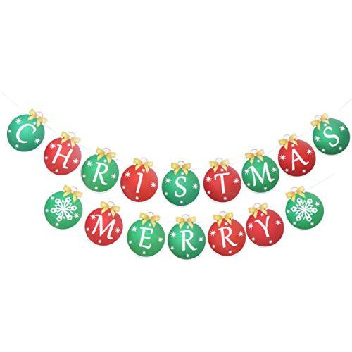 Amosfun kerstbanner kerstbal gevormd vrolijk kerstpapier Banner Bunting slinger opknoping kerstversiering