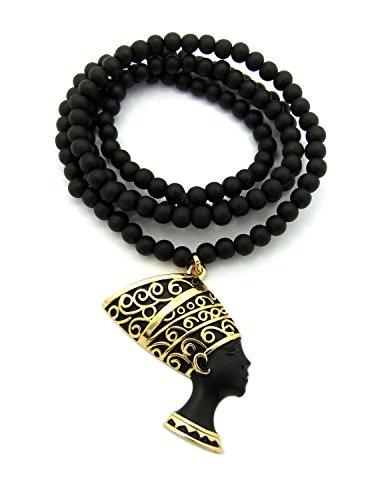 "Fashion 21 Egyptian Queen Nefertiti Pendant 6mm 30"" Wooden Bead Necklace Gold-Tone (Gold + Black Tone)"