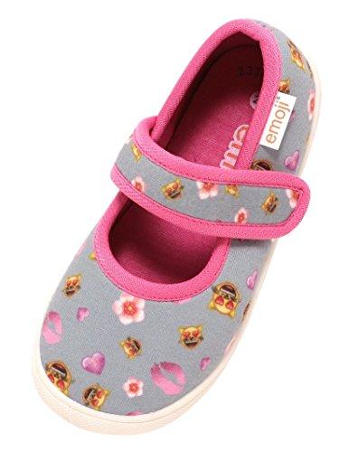 Zapato Mädchen Freizeitschuhe Ballerina mit Klettverschluss Emoji® Katze Herzen grau pink Gr. 22-29 (23)