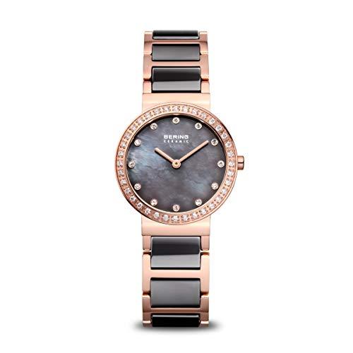 BERING Damen Analog Quarz Ceramic Collection Armbanduhr mit Edelstahl/Keramik Armband und Saphirglas 10729-769