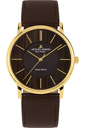 Jacques Lemans Herren Analog Solarwerk Uhr mit Kunstleder Armband 1-2105B