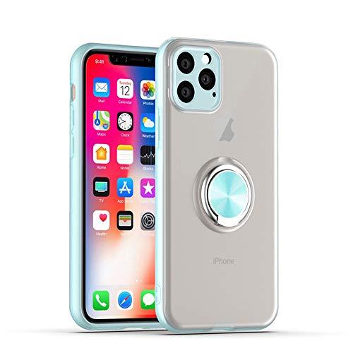 GOBY Coque iPhone 11 Pro Max, Slim Fit TPU avec Support de BagueSilicone Gel Anti Mince Placage Bumper Housse Lustre Métal 360° Bague Support Téléphone Voiture Etui (BLEU CLAIR)
